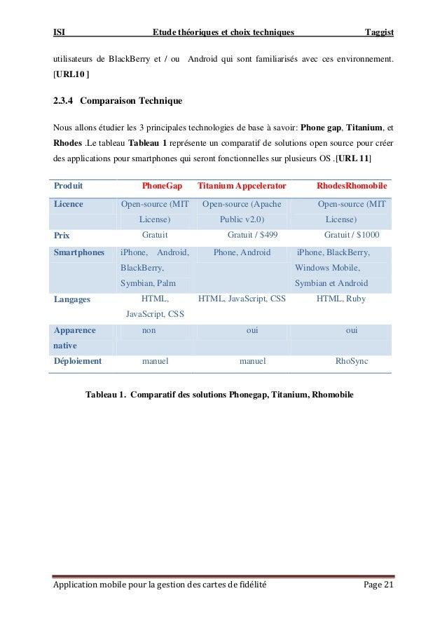 ISI Etude théoriques et choix techniques Taggist Application mobile pour la gestion des cartes de fidélité Page 21 utilisa...