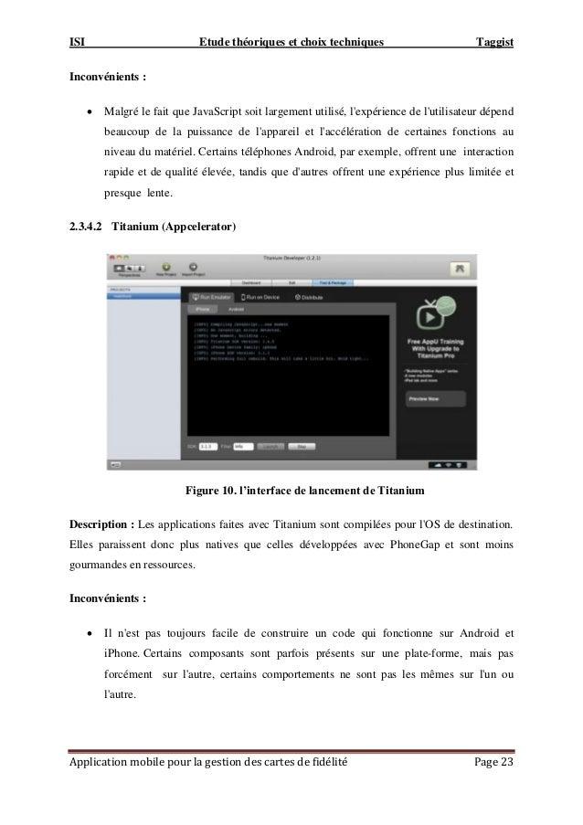 ISI Etude théoriques et choix techniques Taggist Application mobile pour la gestion des cartes de fidélité Page 23 Inconvé...