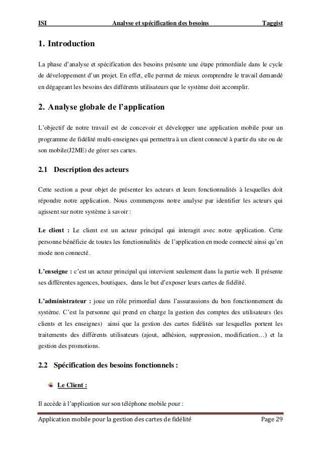 ISI Analyse et spécification des besoins Taggist Application mobile pour la gestion des cartes de fidélité Page 29 1. Intr...