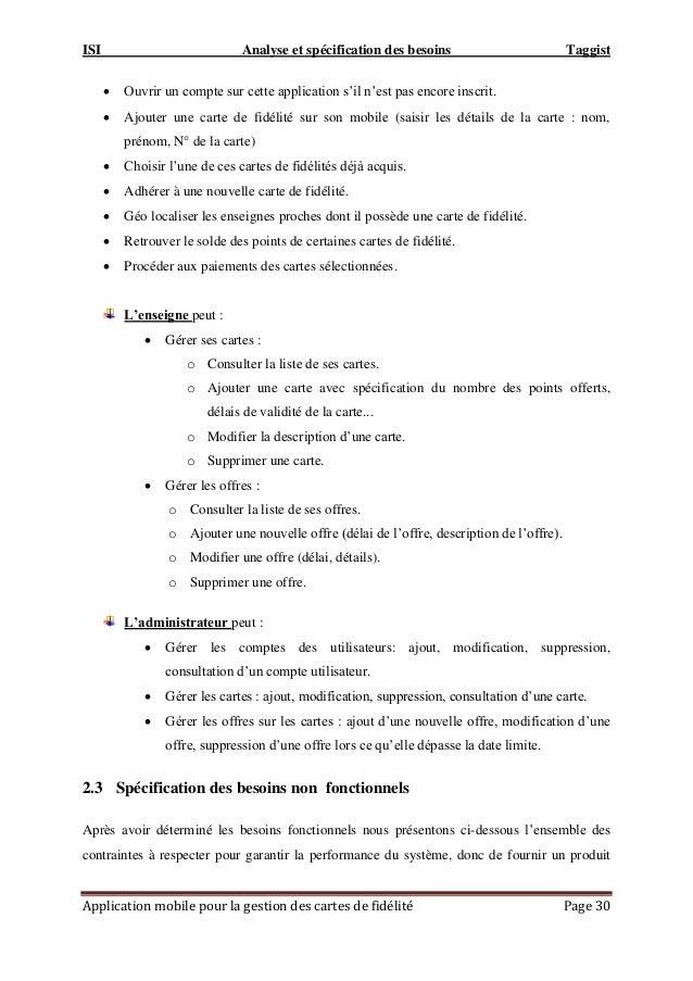 ISI Analyse et spécification des besoins Taggist Application mobile pour la gestion des cartes de fidélité Page 30  Ouvri...
