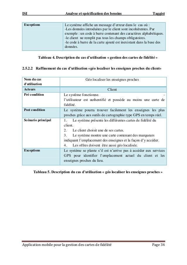 ISI Analyse et spécification des besoins Taggist Application mobile pour la gestion des cartes de fidélité Page 34 Excepti...