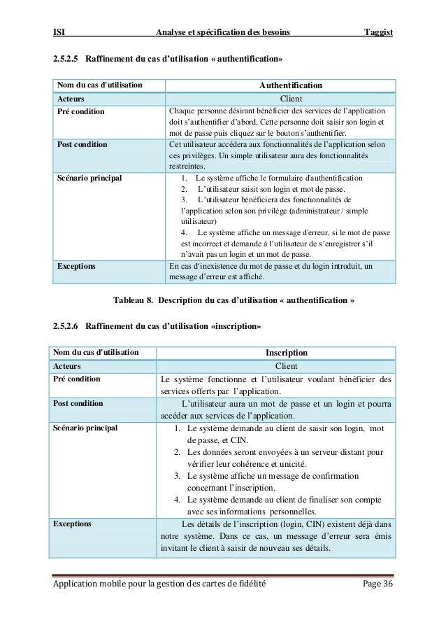 ISI Analyse et spécification des besoins Taggist Application mobile pour la gestion des cartes de fidélité Page 36 2.5.2.5...