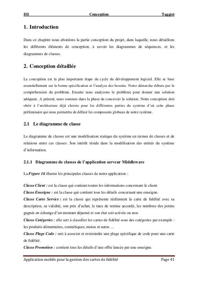 ISI Conception Taggist Application mobile pour la gestion des cartes de fidélité Page 41 1. Introduction Dans ce chapitre ...