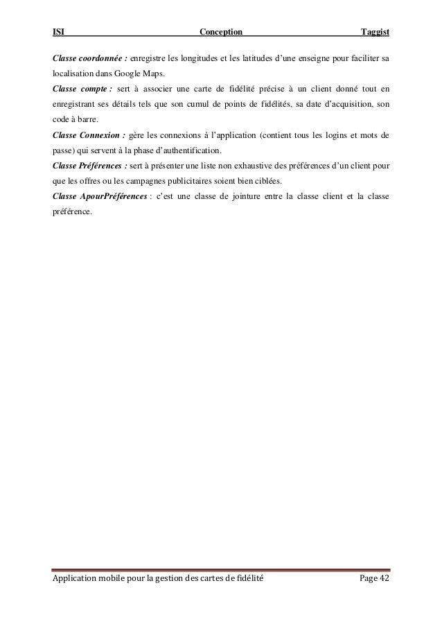 ISI Conception Taggist Application mobile pour la gestion des cartes de fidélité Page 42 Classe coordonnée : enregistre le...