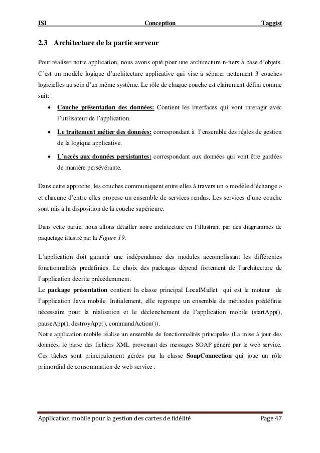 ISI Conception Taggist Application mobile pour la gestion des cartes de fidélité Page 47 2.3 Architecture de la partie ser...
