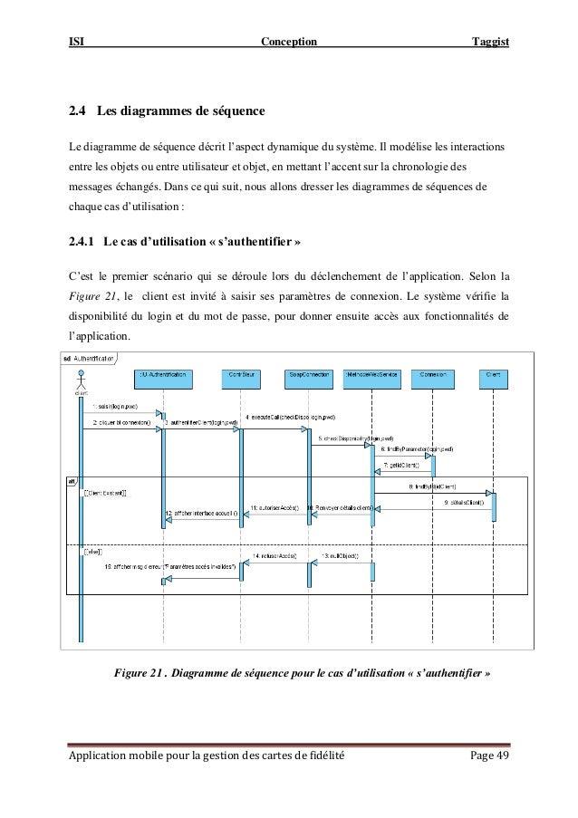 ISI Conception Taggist Application mobile pour la gestion des cartes de fidélité Page 49 2.4 Les diagrammes de séquence Le...