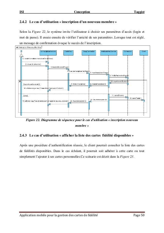 ISI Conception Taggist Application mobile pour la gestion des cartes de fidélité Page 50 2.4.2 Le cas d'utilisation « insc...