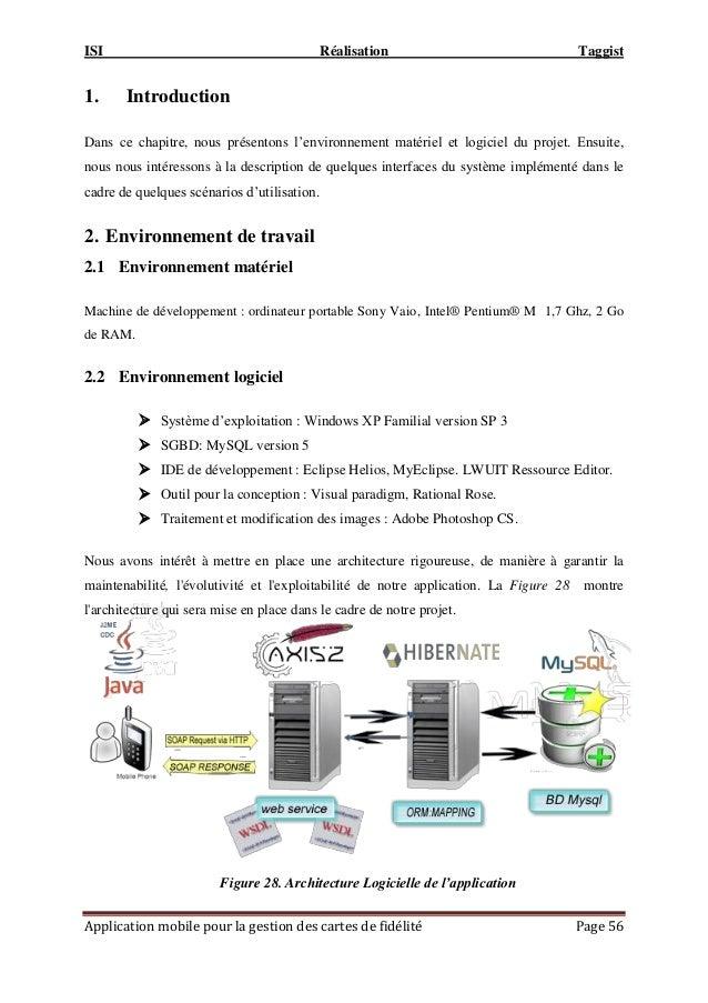 ISI Réalisation Taggist Application mobile pour la gestion des cartes de fidélité Page 56 1. Introduction Dans ce chapitre...
