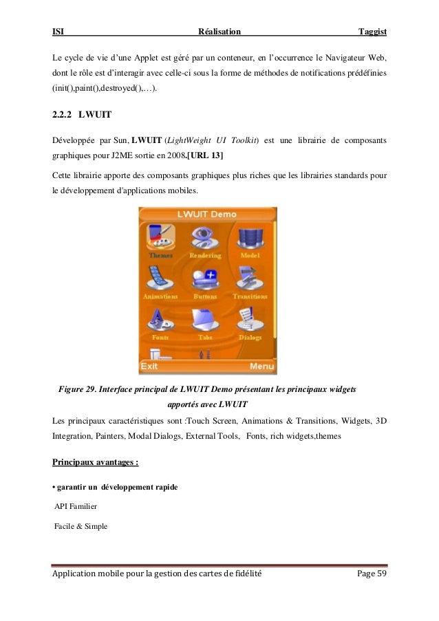 """ISI Réalisation Taggist Application mobile pour la gestion des cartes de fidélité Page 59 Le cycle de vie d""""une Applet est..."""
