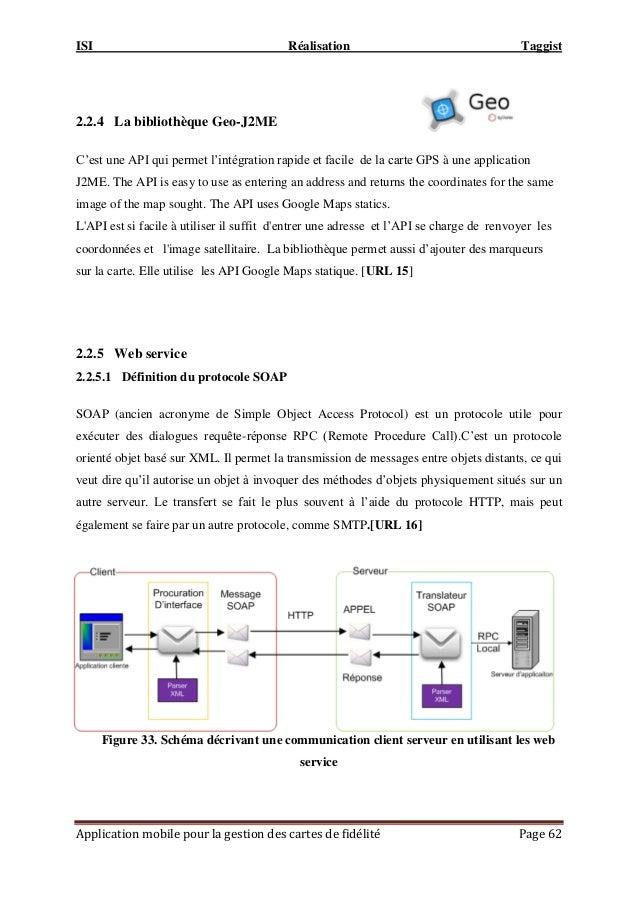 ISI Réalisation Taggist Application mobile pour la gestion des cartes de fidélité Page 62 2.2.4 La bibliothèque Geo-J2ME C...