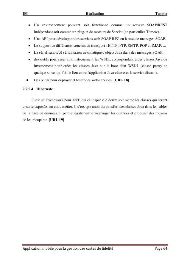 ISI Réalisation Taggist Application mobile pour la gestion des cartes de fidélité Page 64  Un environnement pouvant soit ...
