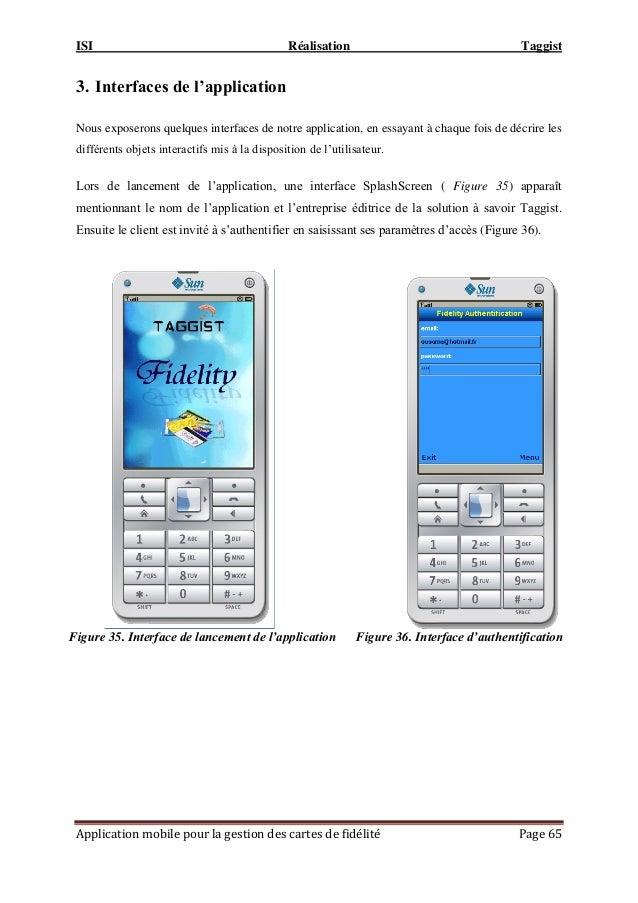ISI Réalisation Taggist Application mobile pour la gestion des cartes de fidélité Page 65 3. Interfaces de l'application N...