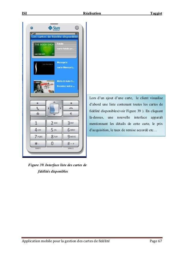 """ISI Réalisation Taggist Application mobile pour la gestion des cartes de fidélité Page 67 Lors d""""un ajout d""""une carte, le ..."""