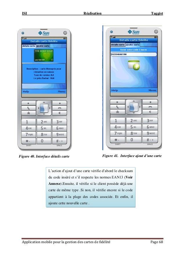 ISI Réalisation Taggist Application mobile pour la gestion des cartes de fidélité Page 68 Figure 41. Interface ajout d'une...