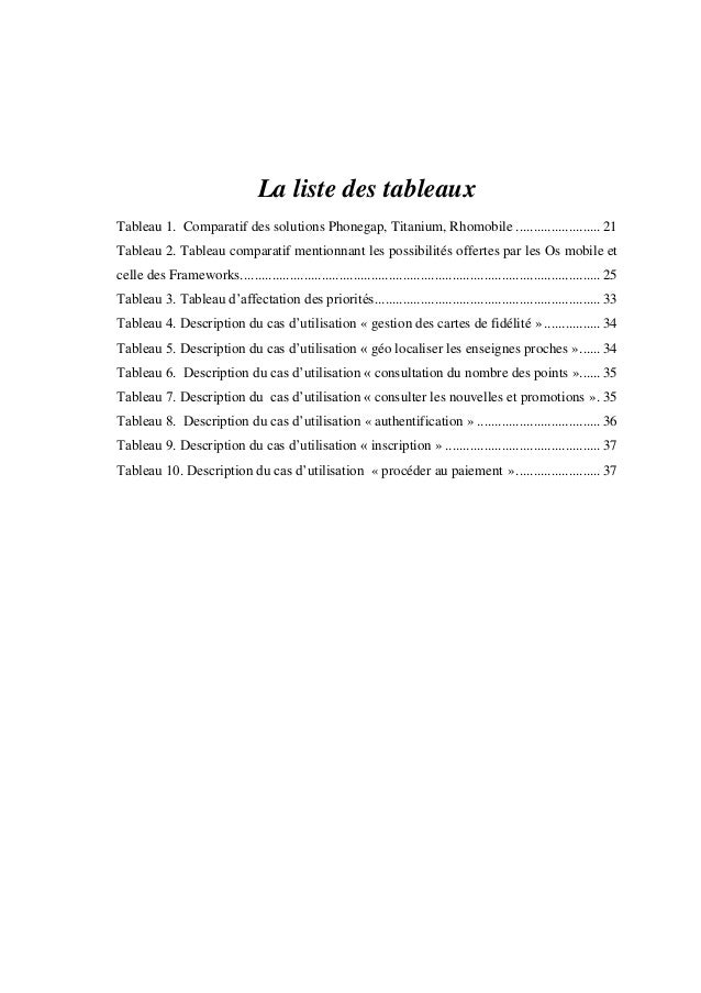 La liste des tableaux Tableau 1. Comparatif des solutions Phonegap, Titanium, Rhomobile ........................ 21 Tablea...