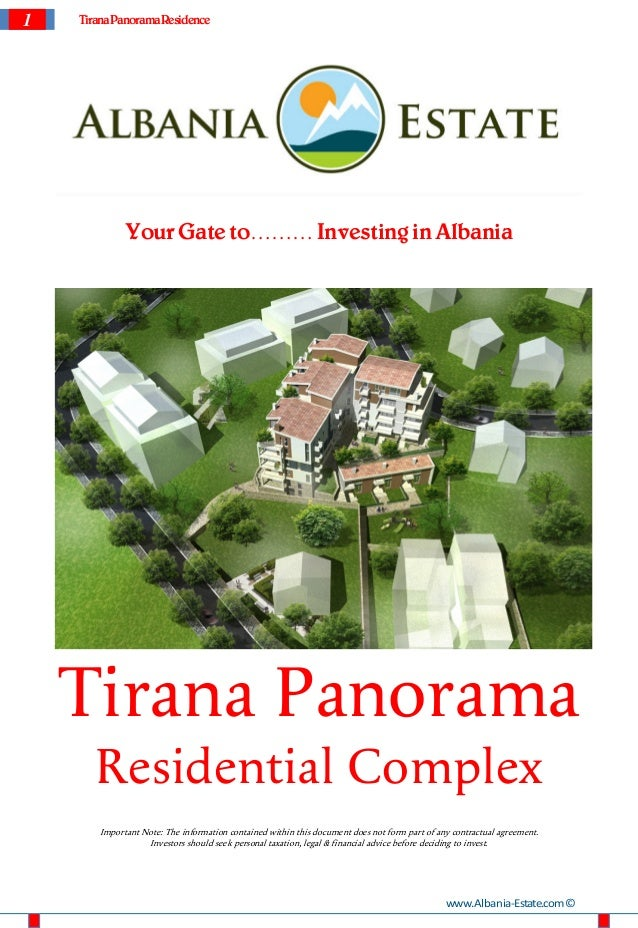 1   Tirana Panorama Residence             Your Gate to……… Investing in Albania    Tirana Panorama       Residential Comple...