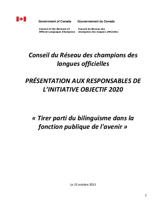 Government of Canada Council of the Network of Official Languages Champions         Gouvernement du Canada Conseil du Ré...
