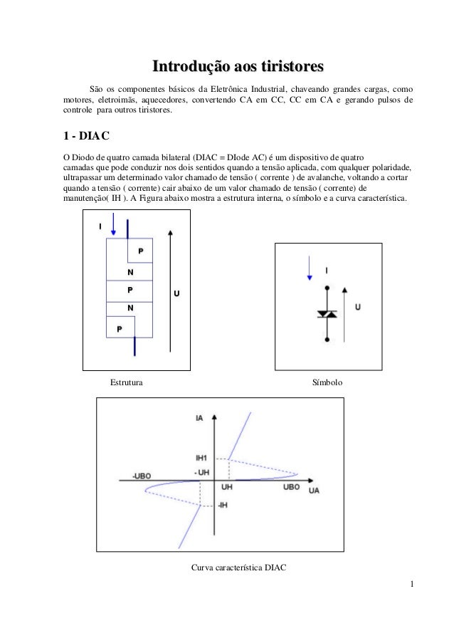 1 IInnttrroodduuççããoo aaooss ttiirriissttoorreess São os componentes básicos da Eletrônica Industrial, chaveando grandes ...