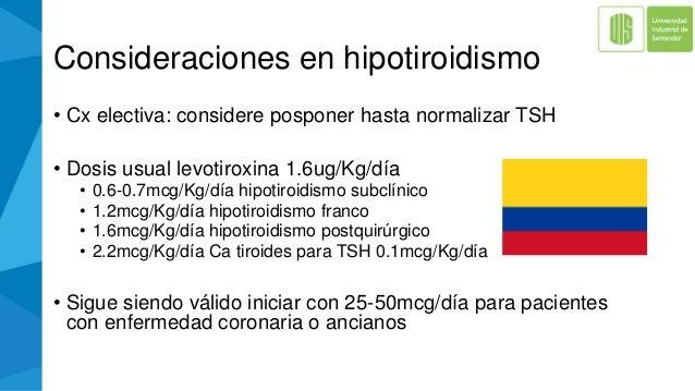 Consideraciones en hipotiroidismo • Cx electiva: considere posponer hasta normalizar TSH • Dosis usual levotiroxina 1.6ug/...