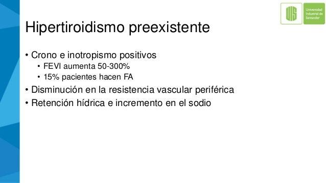 Hipertiroidismo preexistente • Crono e inotropismo positivos • FEVI aumenta 50-300% • 15% pacientes hacen FA • Disminución...