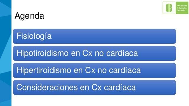 Agenda Fisiología Hipotiroidismo en Cx no cardíaca Hipertiroidismo en Cx no cardíaca Consideraciones en Cx cardíaca