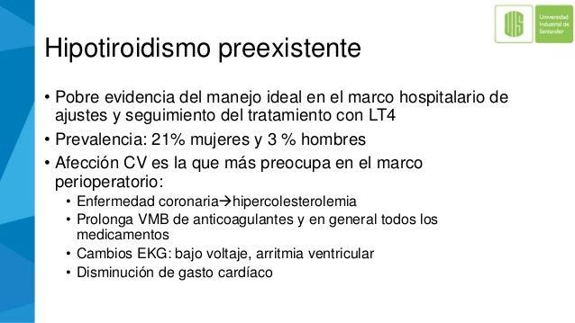 Hipotiroidismo preexistente • Pobre evidencia del manejo ideal en el marco hospitalario de ajustes y seguimiento del trata...