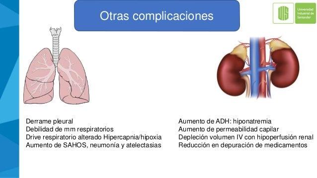 Otras complicaciones Derrame pleural Debilidad de mm respiratorios Drive respiratorio alterado Hipercapnia/hipoxia Aumento...