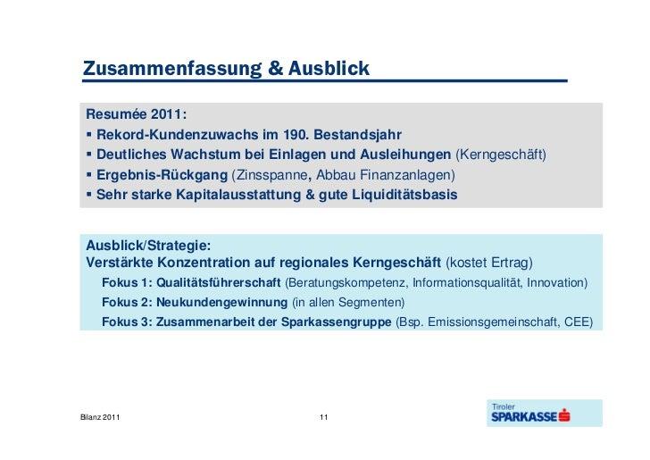 Tiroler Sparkasse Bilanz 2011