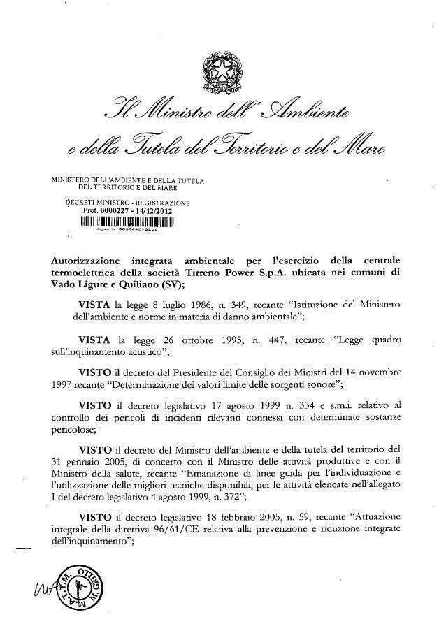 Tirreno power vado ligure gazzetta ufficiale 5 gennaio 2013 decreto ministeriale aia 14 12 2012 dec min-0000227 tirreno va...
