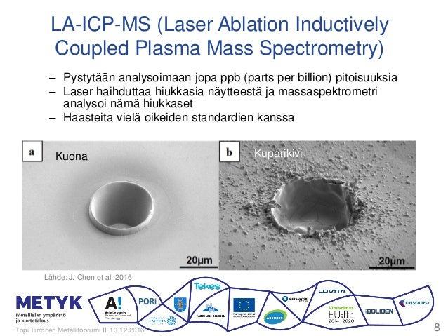 5 d @ 1250 °C – Pystytään analysoimaan jopa ppb (parts per billion) pitoisuuksia – Laser haihduttaa hiukkasia näytteestä j...