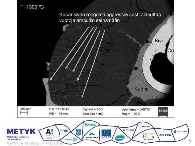T=1300 °C Kuparikiven reagointi aggressiivisesti aiheuttaa vuotoja ampullin seinämään Kuona Kivi Cu Topi Tirronen Metallif...