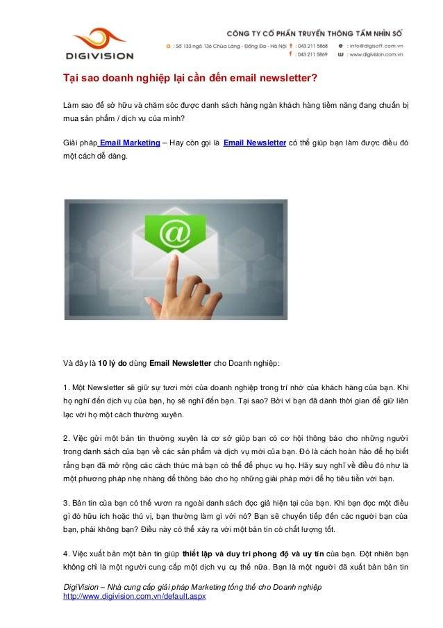 Tại sao doanh nghiệp lại cần đến email newsletter?Làm sao để sở hữu và chăm sóc được danh sách hàng ngàn khách hàng tiềm n...