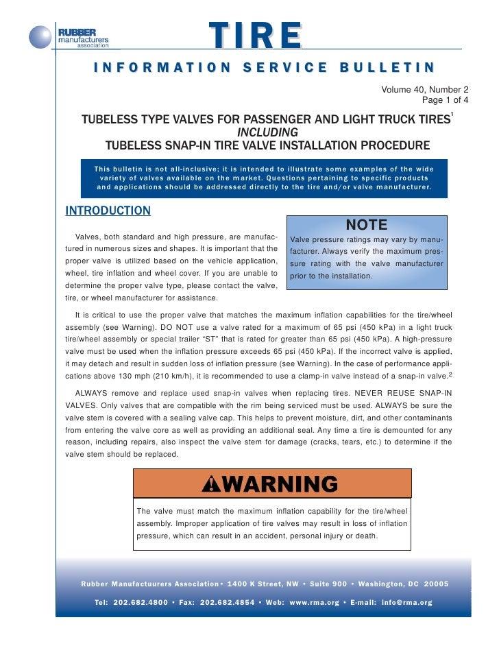 TIRE        INFORMATION SERVICE BULLETIN                                                                                  ...