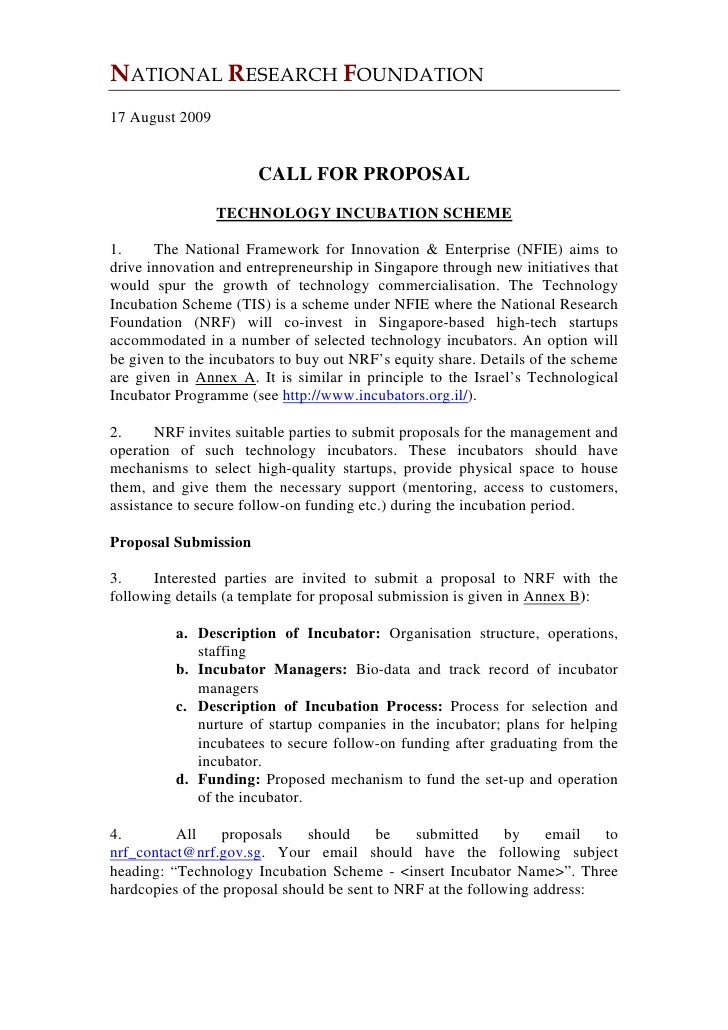 NATIONAL RESEARCH FOUNDATION 17 August 2009                          CALL FOR PROPOSAL                  TECHNOLOGY INCUBAT...