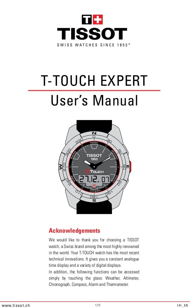 *                       T-TOUCH EXPERT                         User's Manual                        Acknowledgements      ...