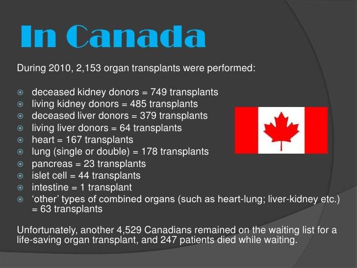 In CanadaDuring 2010, 2,153 organ transplants were performed:   deceased kidney donors = 749 transplants   living kidney...