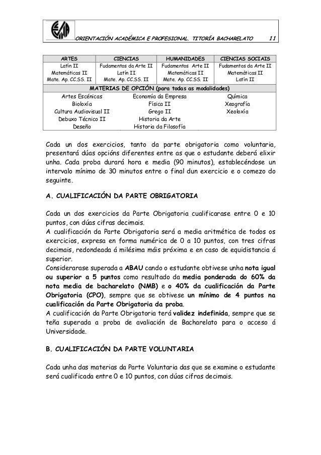 ORIENTACIÓN ACADÉMICA E PROFESIONAL. TITORÍA BACHARELATO 11 ARTES CIENCIAS HUMANIDADES CIENCIAS SOCIAIS Latín II Matemátic...