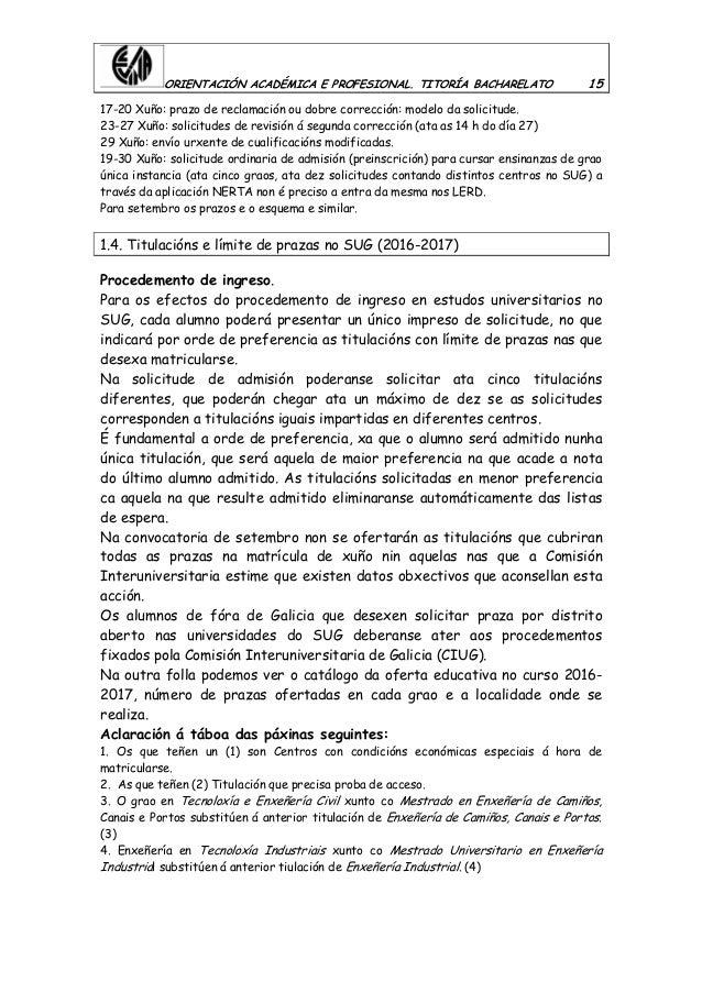 ORIENTACIÓN ACADÉMICA E PROFESIONAL. TITORÍA BACHARELATO 15 17-20 Xuño: prazo de reclamación ou dobre corrección: modelo d...