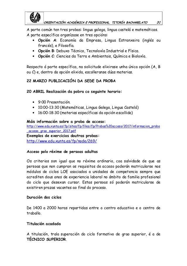 ORIENTACIÓN ACADÉMICA E PROFESIONAL. TITORÍA BACHARELATO 31 A parte común ten tres probas: lingua galega, lingua castelá e...