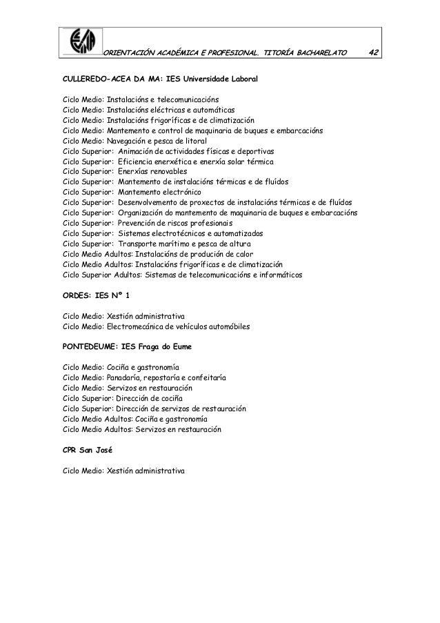 ORIENTACIÓN ACADÉMICA E PROFESIONAL. TITORÍA BACHARELATO 42 CULLEREDO-ACEA DA MA: IES Universidade Laboral Ciclo Medio: In...