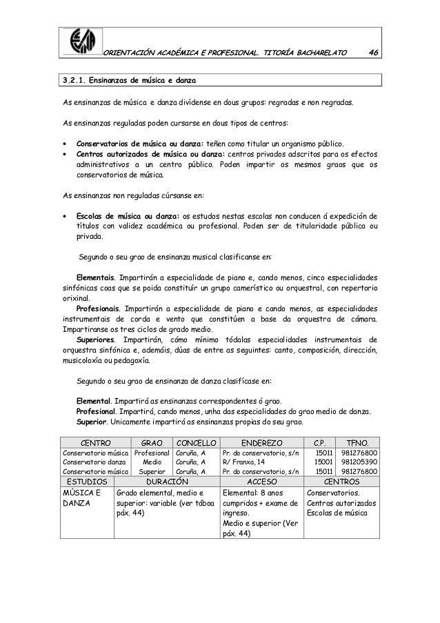 ORIENTACIÓN ACADÉMICA E PROFESIONAL. TITORÍA BACHARELATO 46 3.2.1. Ensinanzas de música e danza As ensinanzas de música e ...