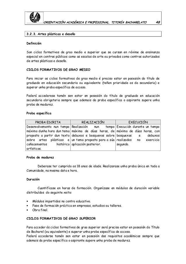 ORIENTACIÓN ACADÉMICA E PROFESIONAL. TITORÍA BACHARELATO 48 3.2.3. Artes plásticas e deseño Definición Son ciclos formativ...