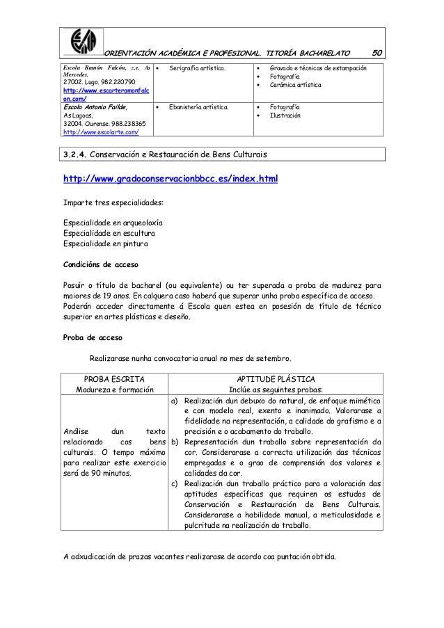 ORIENTACIÓN ACADÉMICA E PROFESIONAL. TITORÍA BACHARELATO 50 Escola Ramón Falcón, z.e. As Mercedes. 27002. Lugo. 982.220790...