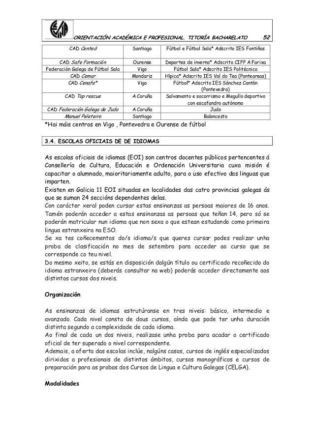 ORIENTACIÓN ACADÉMICA E PROFESIONAL. TITORÍA BACHARELATO 52 CAD Cented Santiago Fútbol e Fútbol Sala* Adscrito IES Fontiña...