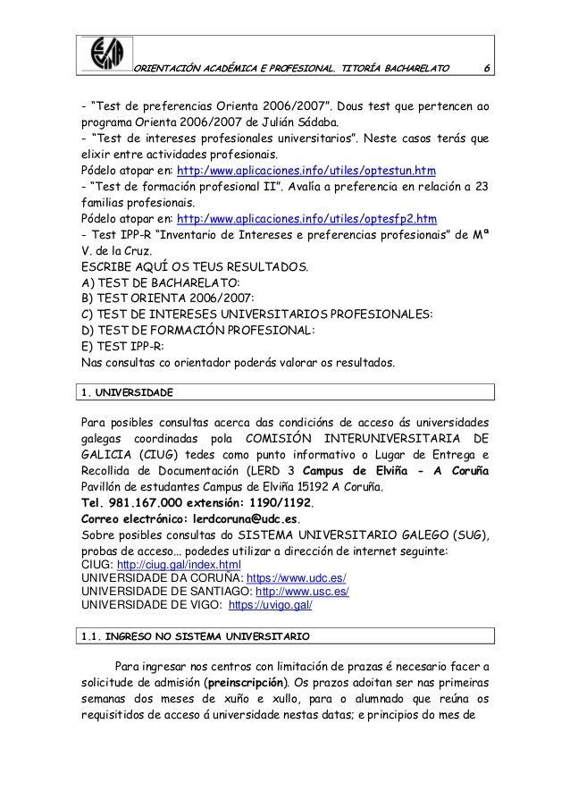 """ORIENTACIÓN ACADÉMICA E PROFESIONAL. TITORÍA BACHARELATO 6 - """"Test de preferencias Orienta 2006/2007"""". Dous test que perte..."""
