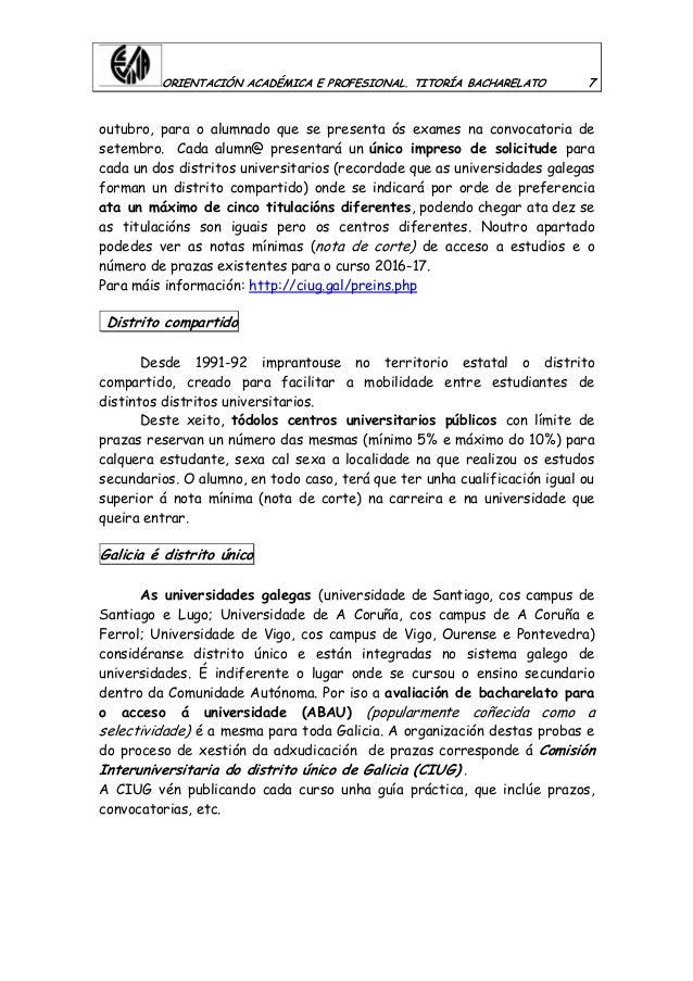 ORIENTACIÓN ACADÉMICA E PROFESIONAL. TITORÍA BACHARELATO 7 outubro, para o alumnado que se presenta ós exames na convocato...