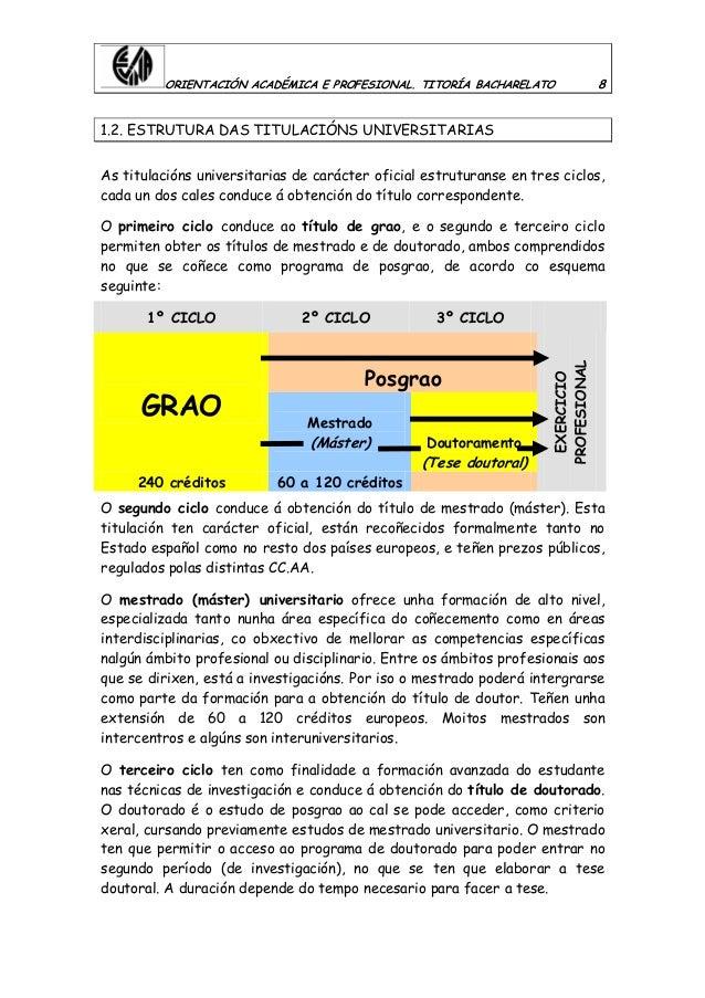 ORIENTACIÓN ACADÉMICA E PROFESIONAL. TITORÍA BACHARELATO 8 1.2. ESTRUTURA DAS TITULACIÓNS UNIVERSITARIAS As titulacións un...