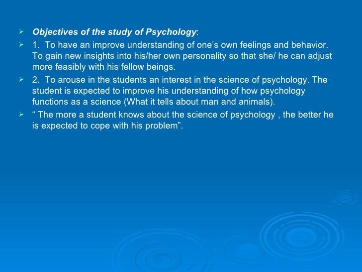 objectives of studying psychology
