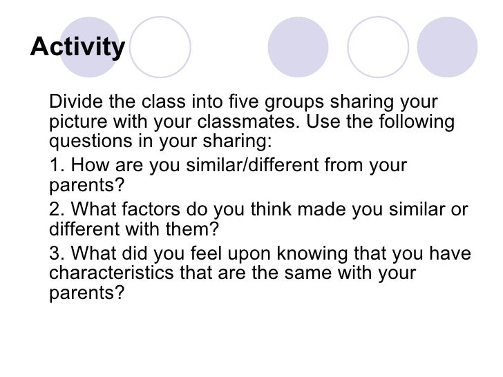 Activity <ul><li>Divide the class into five groups sharing your picture with your classmates. Use the following questions ...