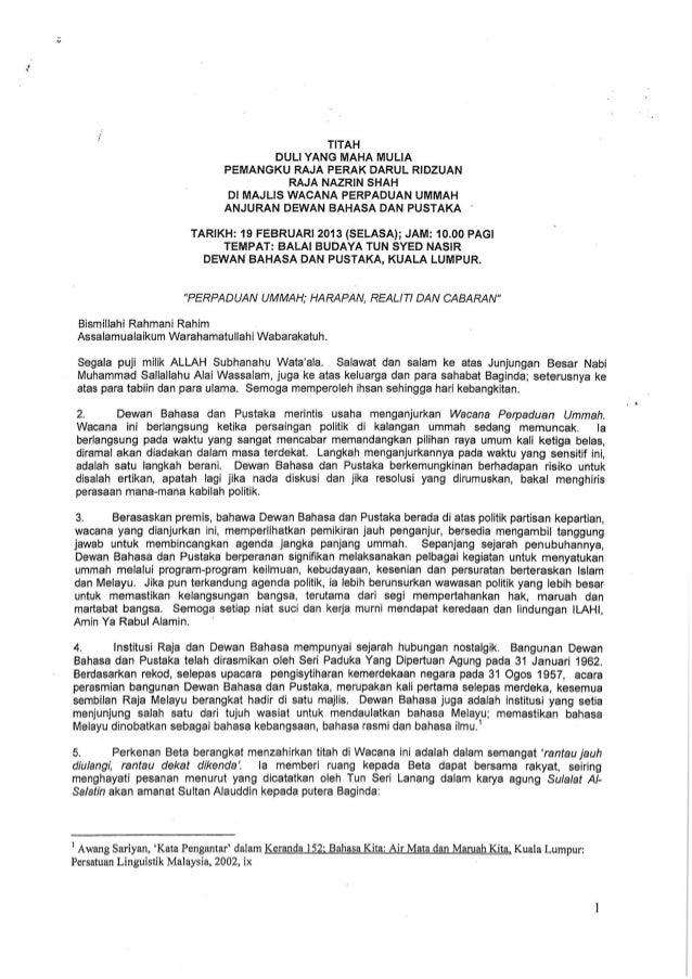 Titah Ucapan DYMM Raja Dr. Nazrin Shah : Perpaduan Ummah